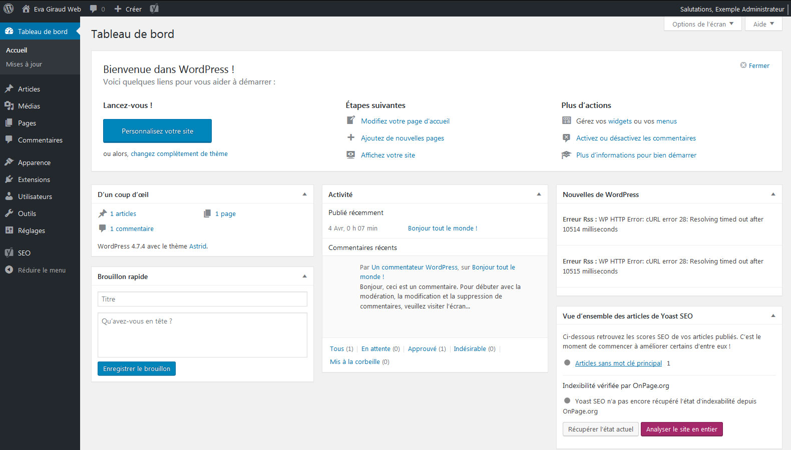 Accueil Admin WordPress